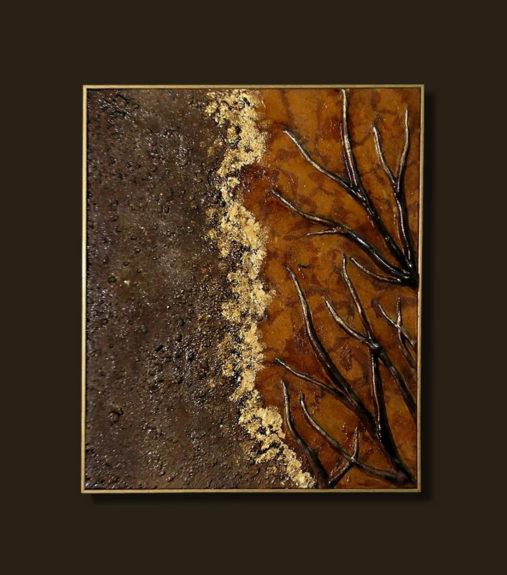 Autunno scultura su tela opera contemporanea sandra marcelloni