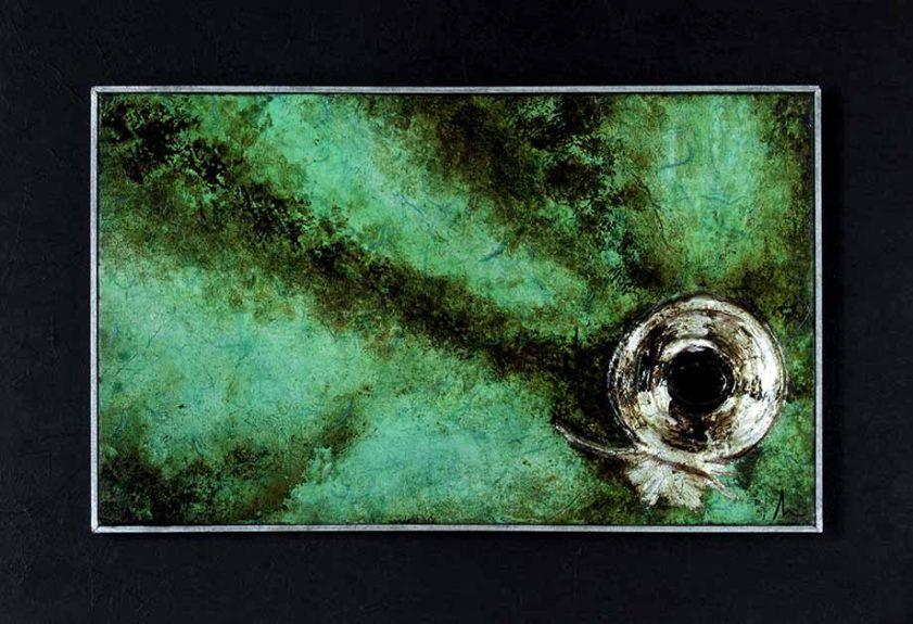 sguardo - scultura su tela verde - Sandra Marcelloni